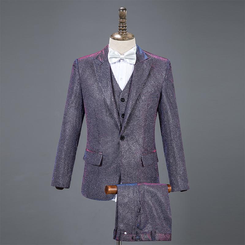 新款亮片服装歌手套装大合唱西服礼服v服装舞台主持人男士男演出服