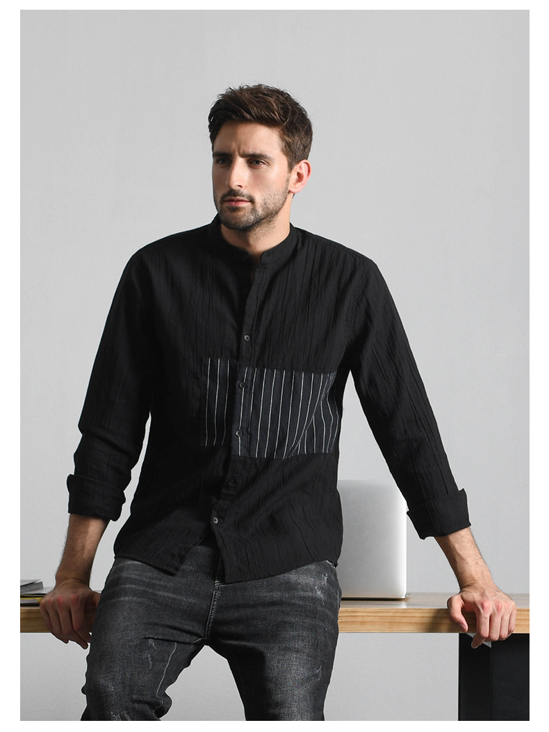 Han-Flo striped stitched long-sleeved shirt men's business casual shirt youth trend slim collar men's top 46 Online shopping Bangladesh