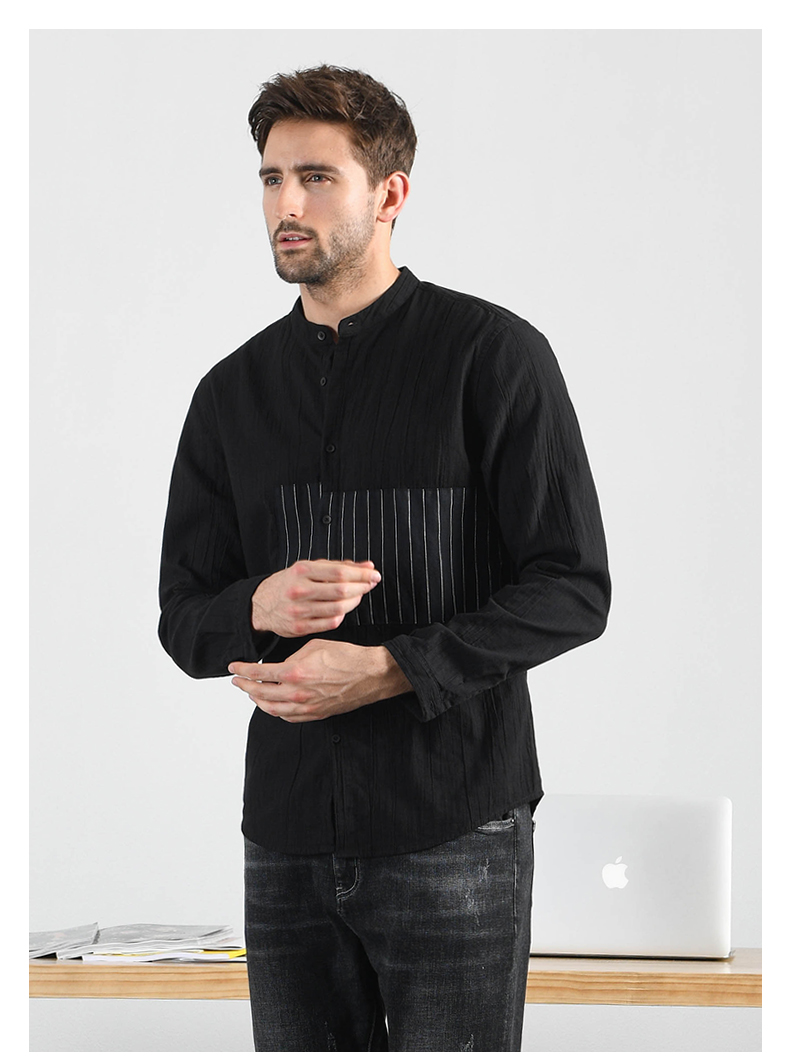 Han-Flo striped stitched long-sleeved shirt men's business casual shirt youth trend slim collar men's top 42 Online shopping Bangladesh