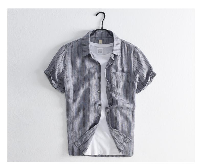 Han-Flo Scottish-woven striped linen short-sleeved shirt men's slightly loose literary retro linen shirt men's thin 59 Online shopping Bangladesh