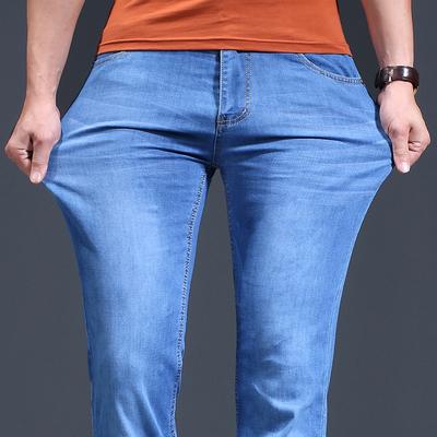 夏季弹力牛仔裤宽松男士黑色休闲潮牌超薄款修身直筒长裤子青年男