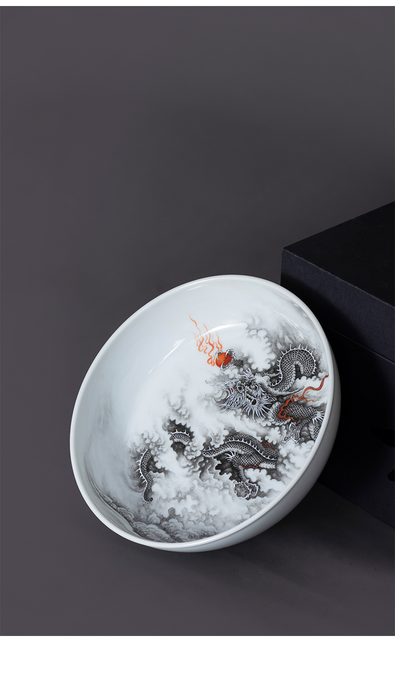 Dragon tea tray was jingdezhen porcelain on kung fu pure manual ink kung fu tea accessories supporting plate of high - end ceramic pot