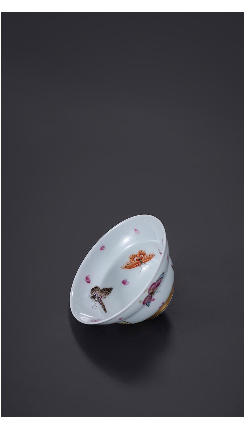 Pure manual hand - made famille rose porcelain on kung fu famille rose tea cup of jingdezhen ceramic tea set master cup single CPU trumpet