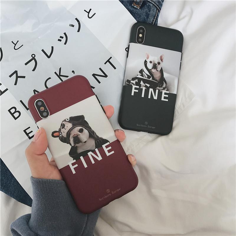 网红法斗狗狗苹果情侣x手机壳iphone7plus/6s软壳8女款XsMax/XR潮