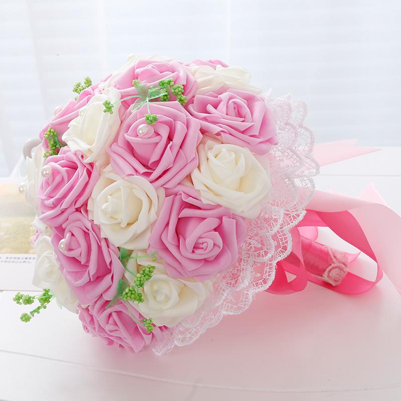 USD 18.43] Creative bride hand bouquet flower simulation flower ...
