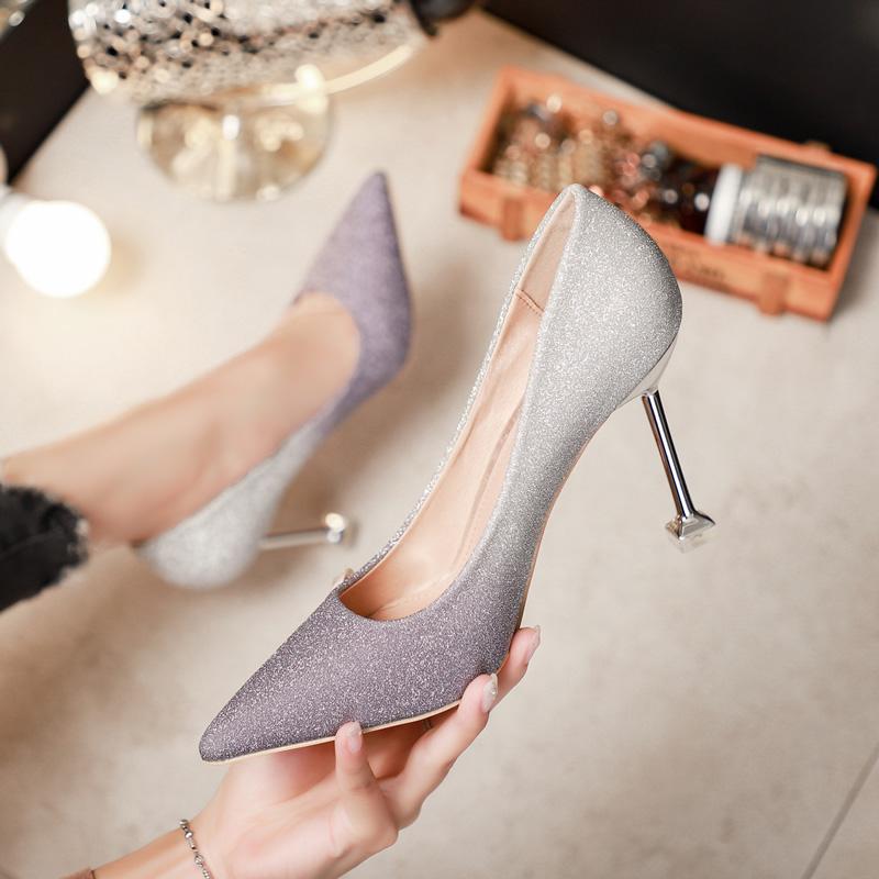 高跟鞋女细跟单鞋亮片法式少女2019春季新款超烫浅口婚鞋礼仪尖头