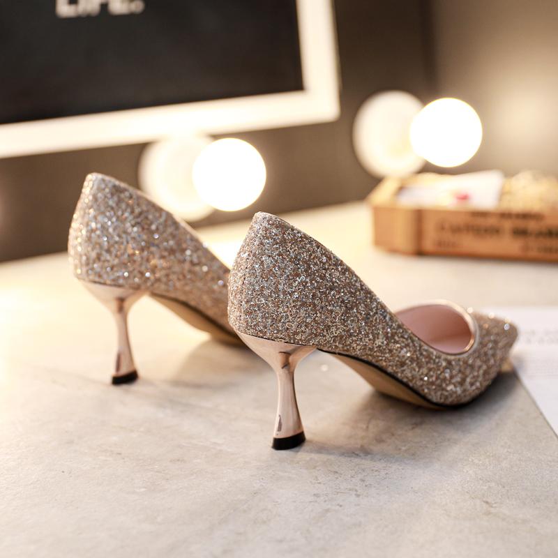 水晶鞋法式新娘大码高跟鞋女细跟2019新款百搭亮片少女婚鞋银色鞋
