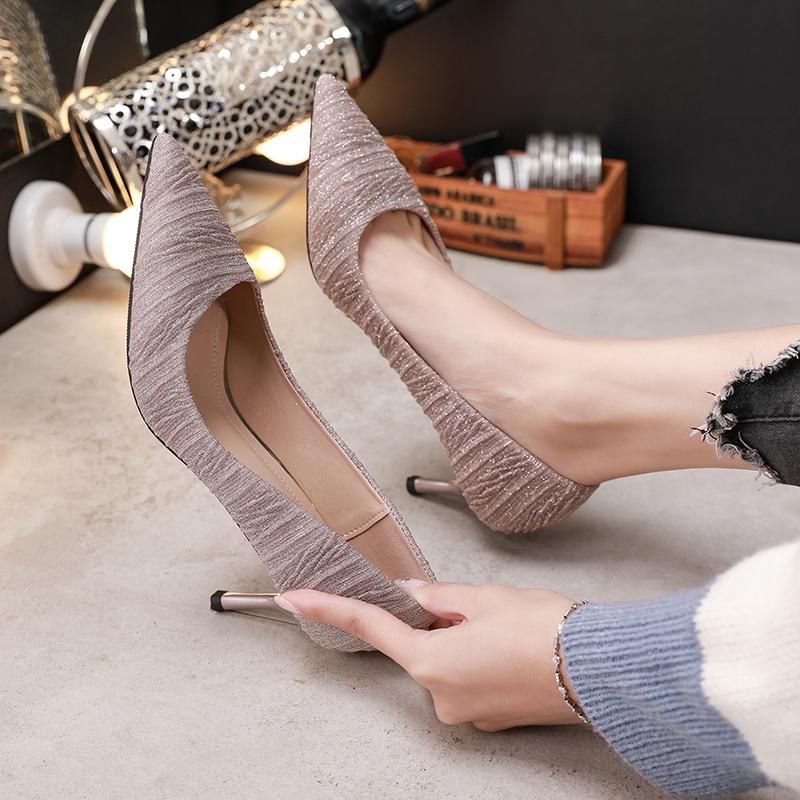 法式少女高跟鞋女细跟2019新款百搭网红仙女风性感5cm单鞋中跟