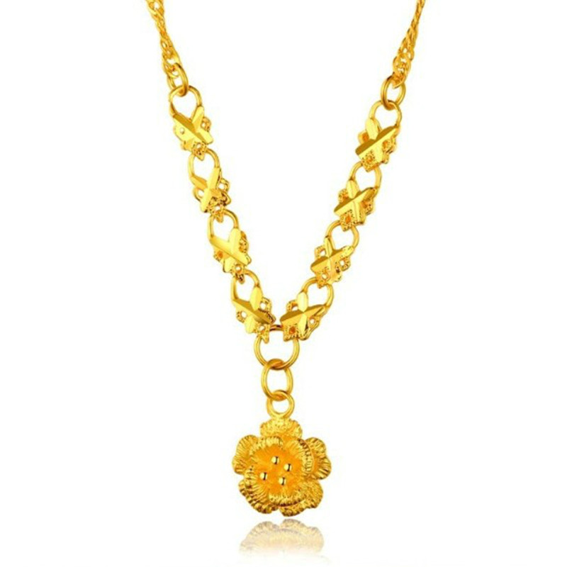 genuine s edibejdfcegg women item jewelry send counter full pendant rose necklace gold pure bracelet jewellery