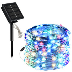 Solar lights flashing lights colorful flashing string lights starry outdoor waterproof courtyard holiday decoration lights with led