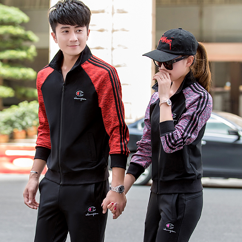 2019 new couple Sports suit spring and autumn casual clothing men Korean  casual sweater men\u0027s spring coat tide