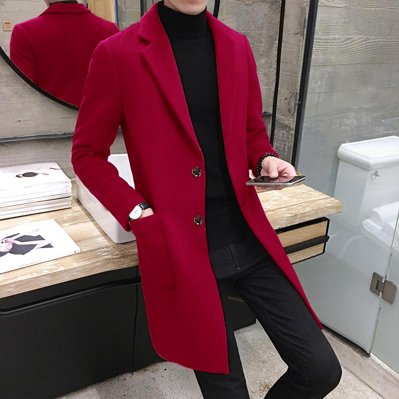 男士红色青年秋季外套中长款加厚大衣呢子毛呢韩版潮修身冬季风衣