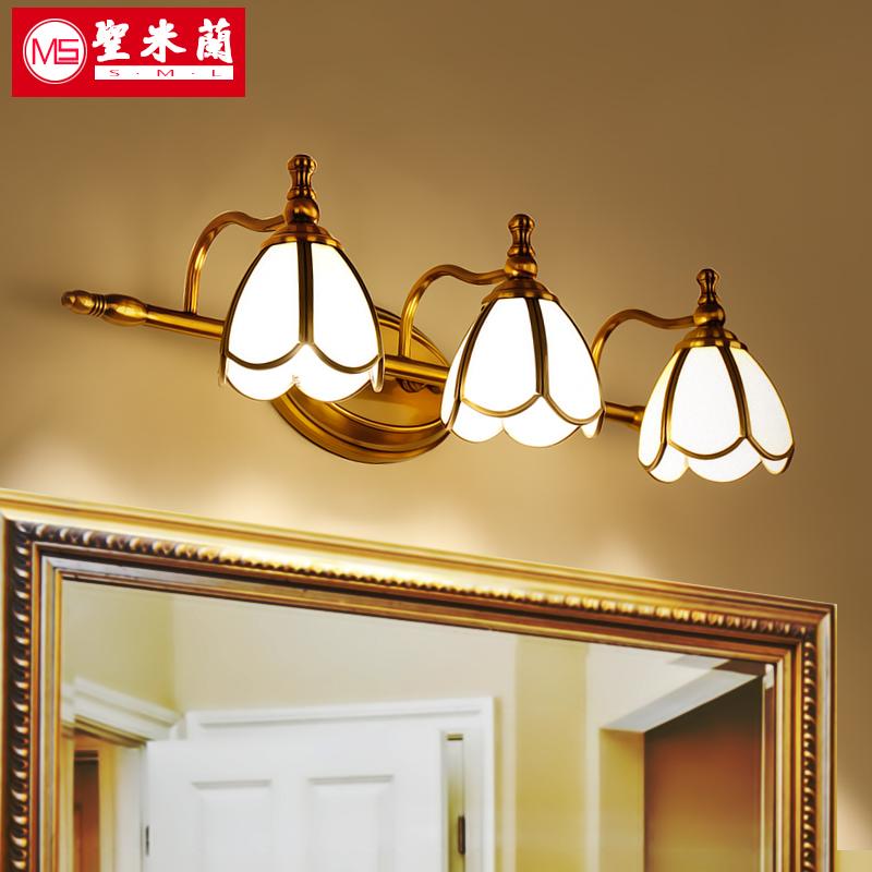 Американский led зеркало фара ванная комната комод зеркальный шкаф свет континентальный ванная комната свет мойте руки между зеркало свет составить настенный светильник