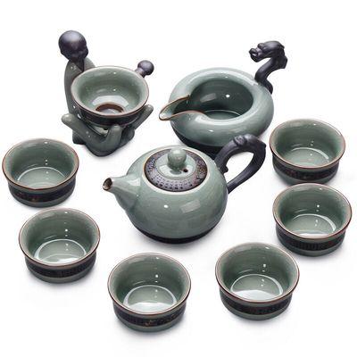 家用茶具套装整套哥窑汝窑青瓷功夫茶具
