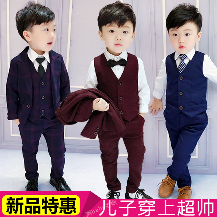 cdf7125e 5 spring and autumn boy suit three sets of children's dress suit England 1-3  years old male baby wedding flower girl 6 tide 8