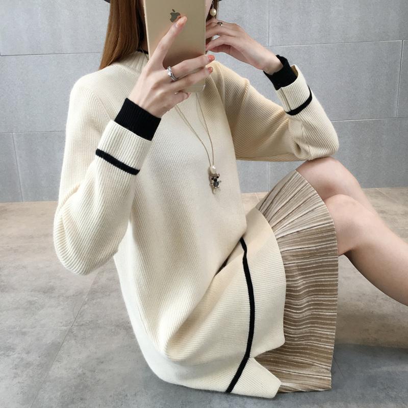 加绒加厚中长款毛衣裙女秋冬2018新款韩版半高领针织衫宽松打底衫