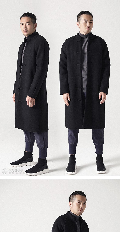 Trẻ em lớn cổ đại Trung Quốc phong cách giản dị khóa áo khoác retro dài dày áo len nam áo sơ mi