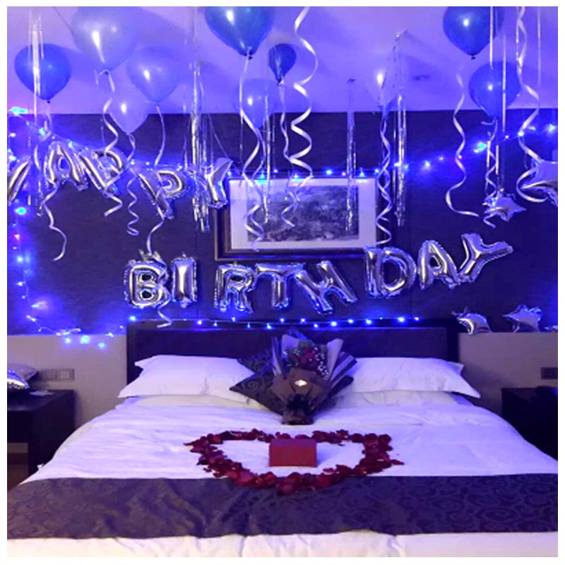 Birthday balloon adult decorate package express hotel for Hotel room decor for birthday