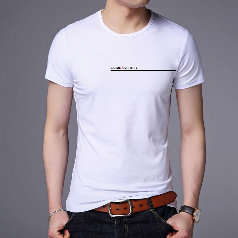 西梵尼短袖T恤男夏季新款青年宽松休闲圆领体恤白色印花纯棉上衣
