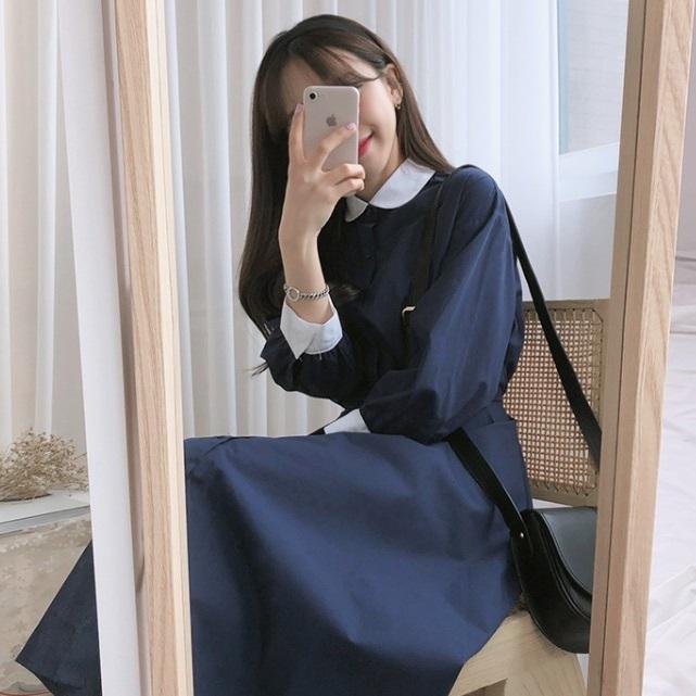 春秋季法式复古法国学生v学生过膝连衣裙裙子韩版少女小众风冬学院