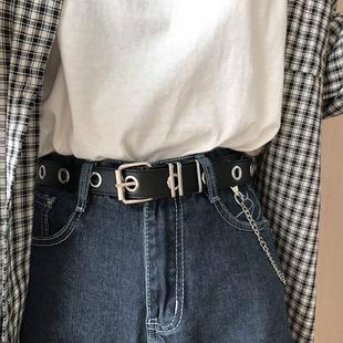 免打孔皮带男士全身孔链条韩国版朋克嘻哈风时尚百搭简约裤腰带女