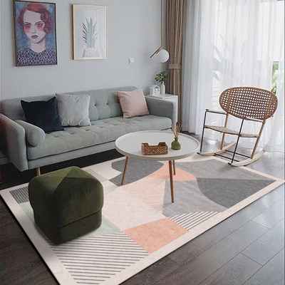 Turkish Nordic simple carpet living room bedroom bedside gold ethnic printing washable Japanese-style floor mat thin section