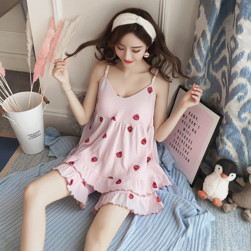 3816948dbd62 Sling pajamas female summer cotton Korean sweet cute sexy with chest pad  Princess wind home service two-piece suit