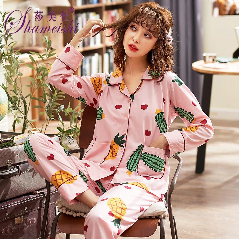 睡衣女春秋季纯棉长袖家居服全棉小码小个子韩版可外穿时尚两件套