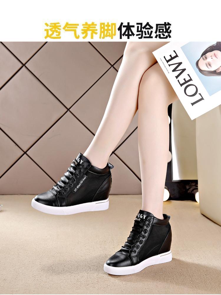 内增高女鞋春夏季新款休閒鞋韩版坡跟网纱透气单鞋厚底小白鞋详细照片