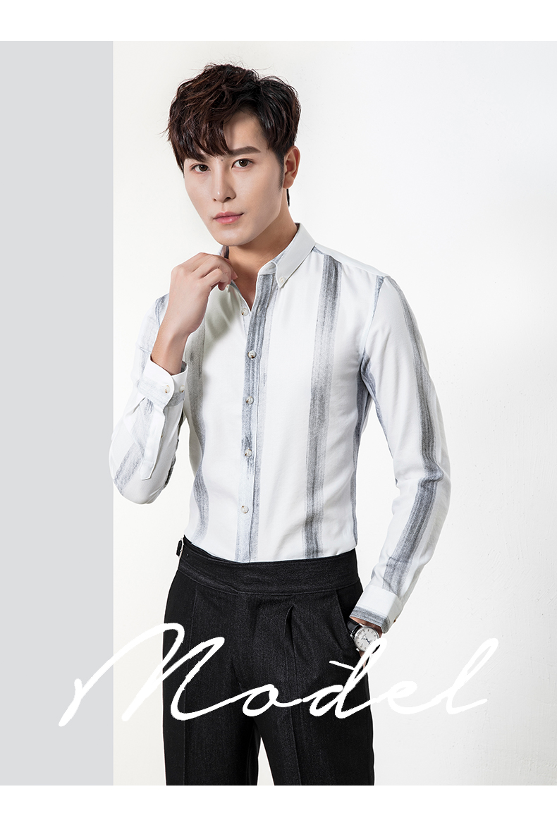 Long-sleeved shirt men slim big striped business casual shirt trend young Korean version handsome inch clothes iron-free 40 Online shopping Bangladesh