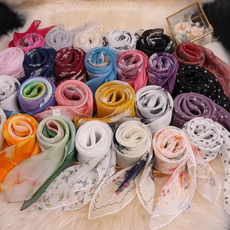 丝巾真丝薄款百搭小方巾桑蚕丝围巾