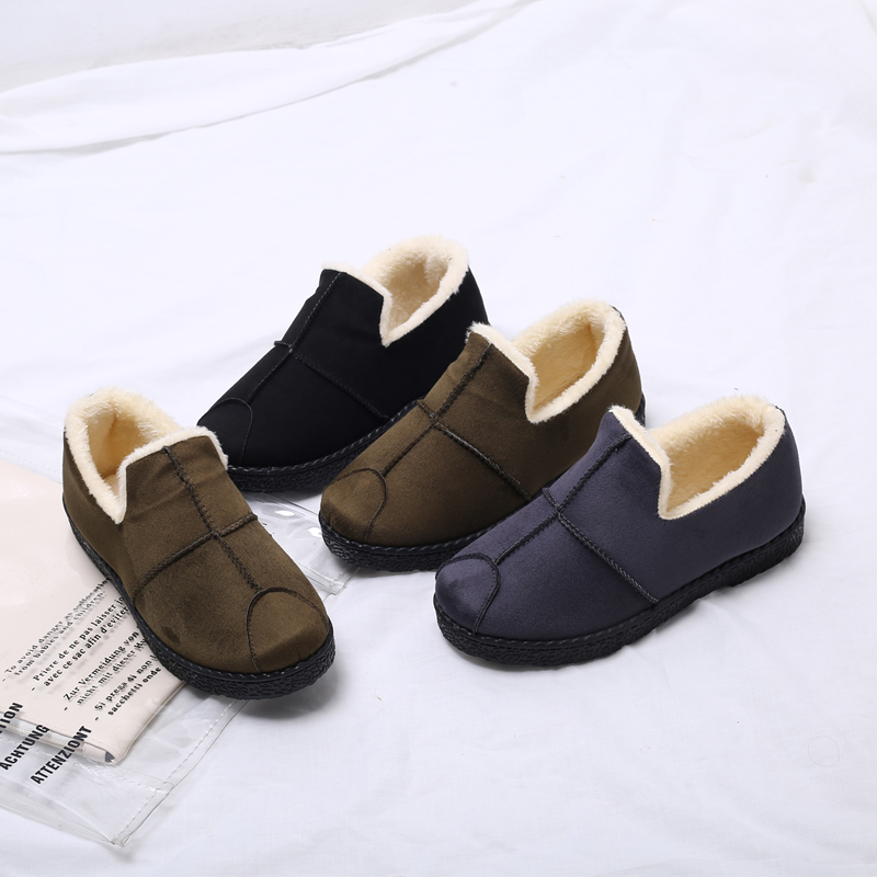 Jing Mai Lang peas shoes female two cotton shoes women 2018 new autumn and winter flat bottom plus velvet thick casual hair shoes