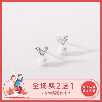 925纯银仿珍珠爱心耳钉女心形 气质韩国个性短款小清新耳坠耳饰