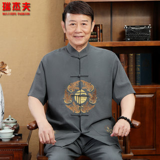 Chinese style Tang suit men's short-sleeved suit middle-aged and elderly linen layman father summer Chinese embroidery large size Hanfu