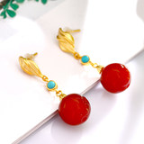 S925 silver gilt Southern red retro silver earrings W7260R