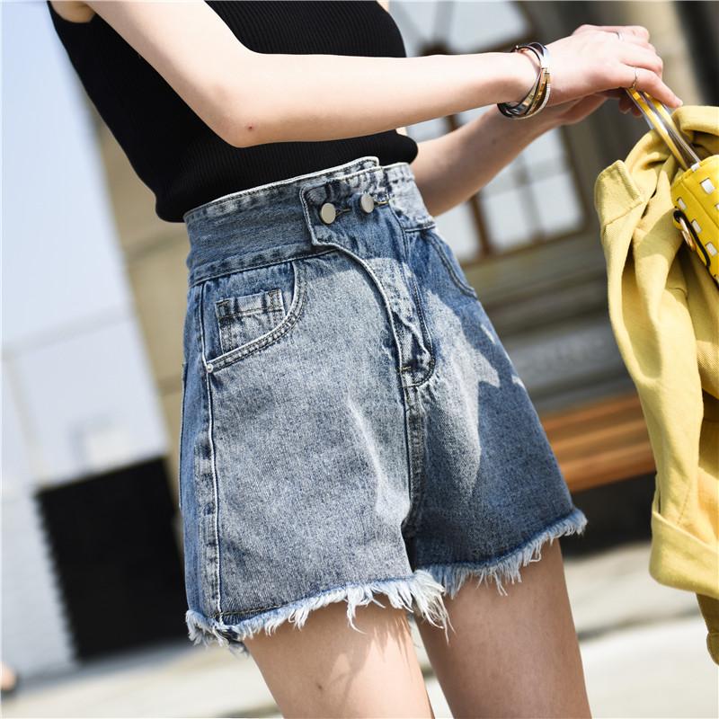 19夏季新款百搭高腰宽松牛仔短裤女a字学生毛边泫雅同款阔腿热裤