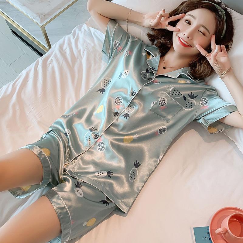 睡衣女夏季冰丝短袖两件套韩版学生性感薄款
