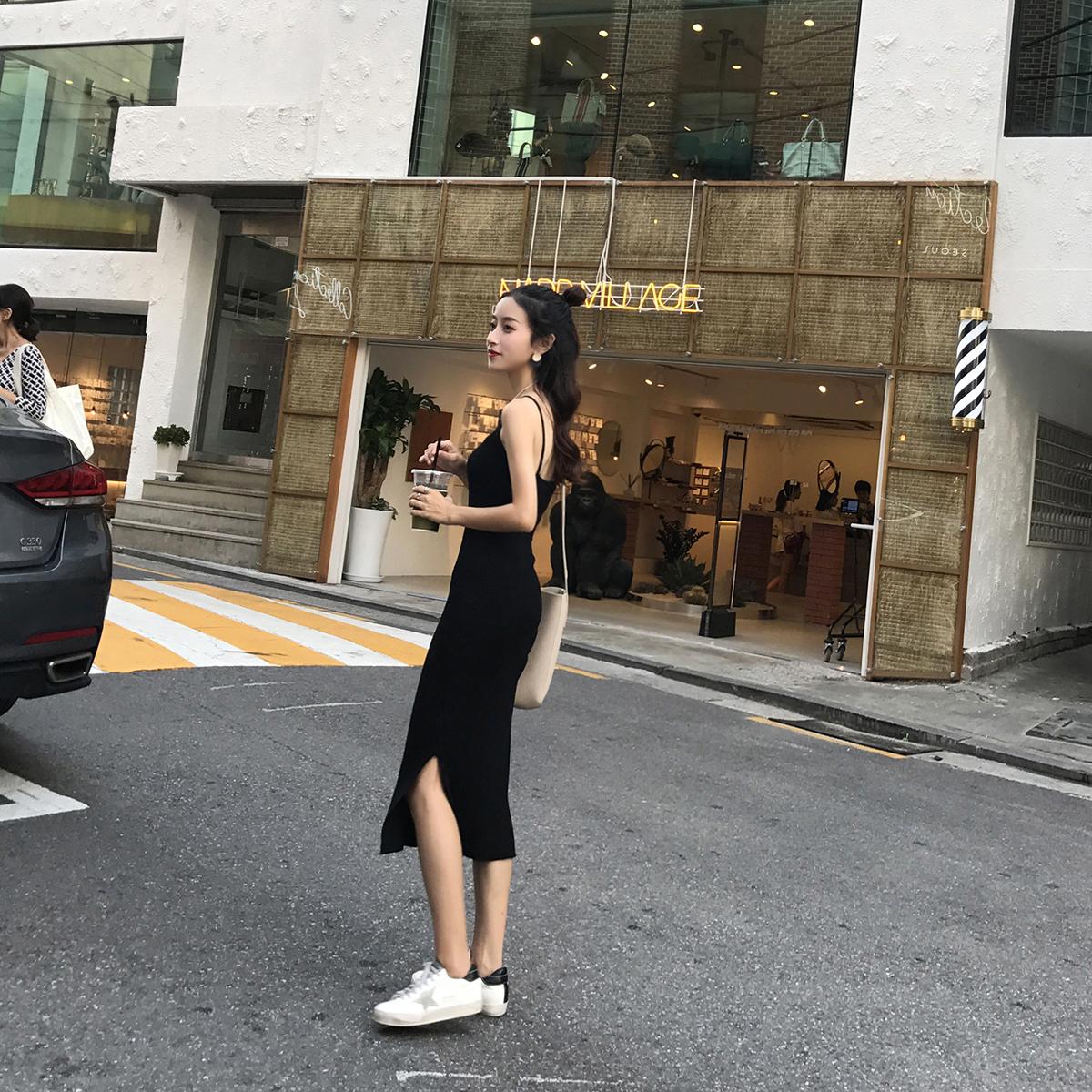 针织背心吊带连衣裙2018新款中长款黑色百搭修身显瘦秋冬打底裙子