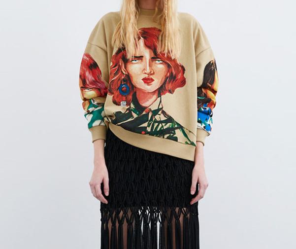 19 новая весна модель мисс искусство печать длинный рукав печать свитер куртка  0085/335 0085335 589825739504