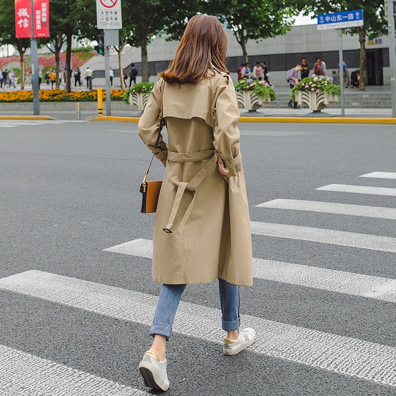 风衣女中长款韩版秋季2018新款lulu收腰chic早秋卡其色春秋装外套