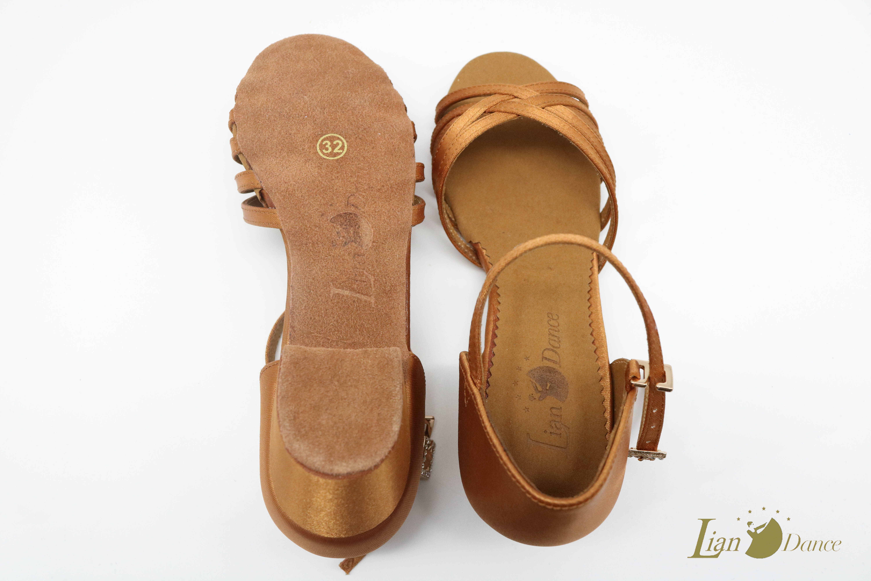 链丹斯儿童拉丁舞鞋比赛牛皮白色女童幼儿伦巴舞软底鞋详细照片