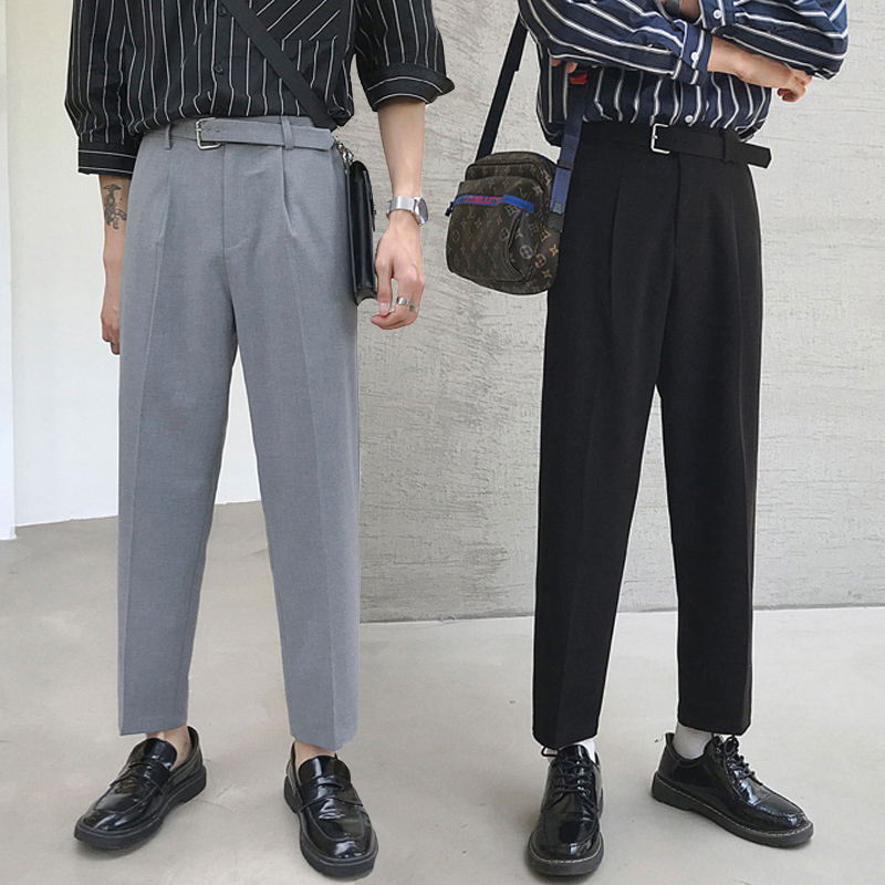 2020 new spring and summer broad leg season nine-point pants men's casual west pants straight tube loose hanging sense eight Korean version of the trend