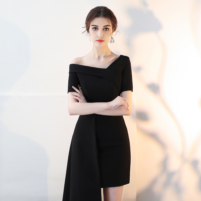 71a48d96178 French evening dress skirt female 2019 New elegant banquet dinner party  dress black short paragraph was thin ladies