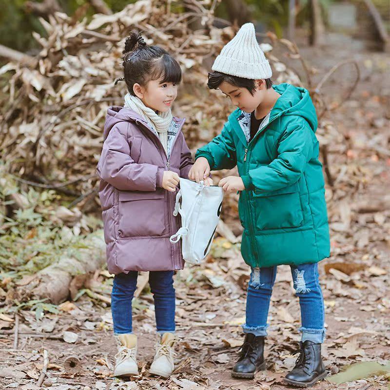 棉袄男童洋气面包韩版短款连帽童超时尚款冬外套大童长女童装加厚