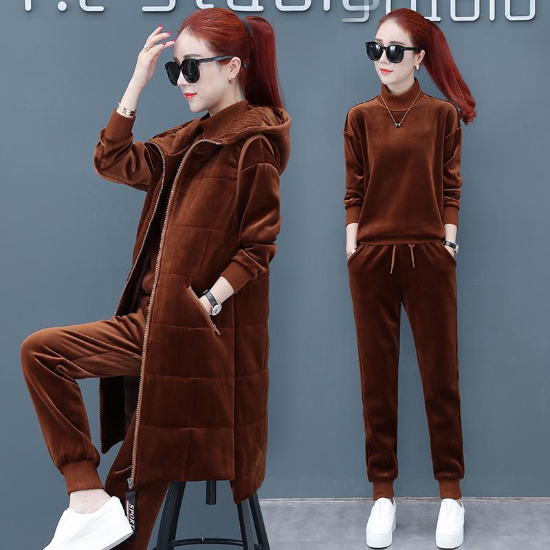 加绒加厚休闲运动套装女秋冬2018新款三件套韩版连帽中长款卫衣女