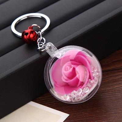 玫瑰花 钥匙扣车挂件花材玫瑰饰品礼品亚克力花球DIY手工节日礼物