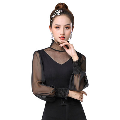 Ballroom latin dance bodysuits for women Modern Dance Top Long Sleeve Dance Dress female sexy latin dance dress high collar Rumba Dance Costume