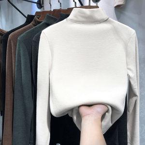 德绒打底衫女秋冬季2020半高领弹力内搭长袖加绒加厚保暖女上衣潮
