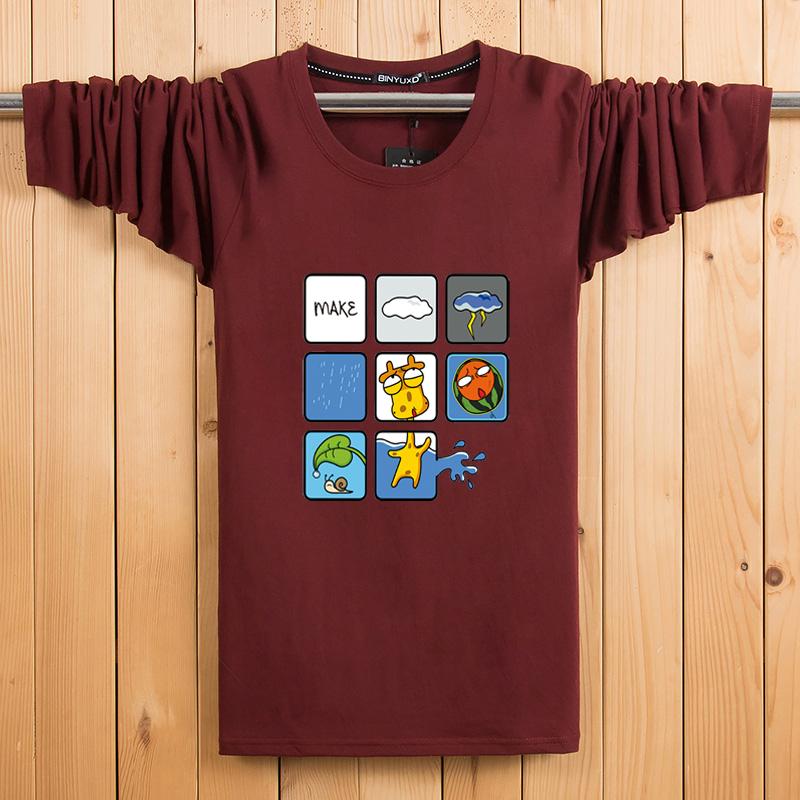 Thanh niên dài tay T-Shirt nam lỏng mỏng kích thước lớn in ấn của nam giới xu hướng trên quần áo nam vòng cổ áo sơ mi t shirt polo