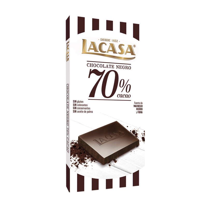 LACASA乐卡莎70%85%橙皮蔓越莓可可排块黑巧克力100g休闲零食礼物